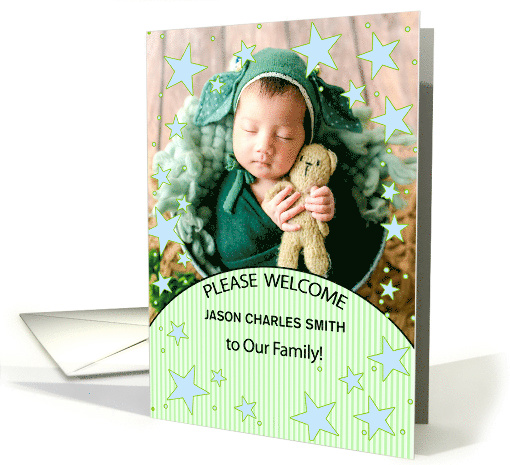 Adoption Announcement for Baby Boy in Blue and Green card (855005)