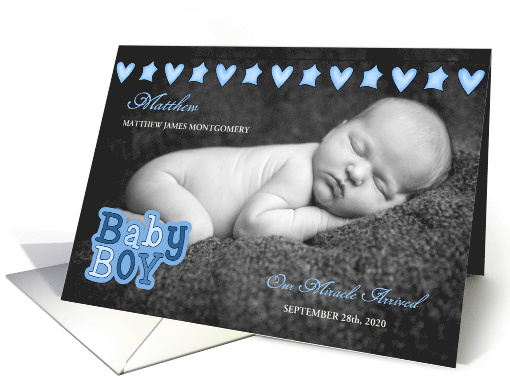 Blue Hearts and Stars Birth Announcement with Baby's Photo card