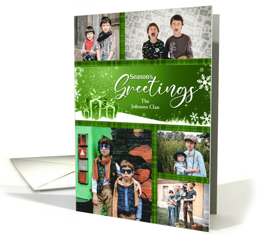 Christmas Family Green and Red Custom 5 Photo card (928738)