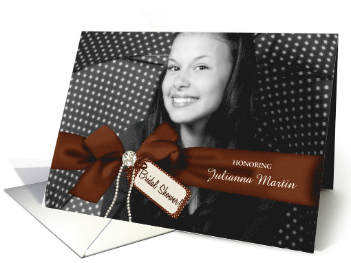 Chocolate Bling Bridal Shower Invitation with Custom Photo card