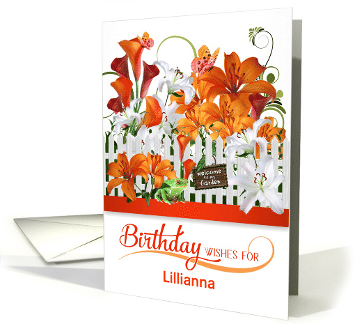 Custom Birthday Lily Garden with Butterflies and a Frog card (936123)