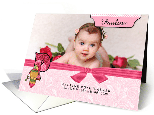 P for Parrot Pink Birth Announcement with Girl's Photo card (941765)