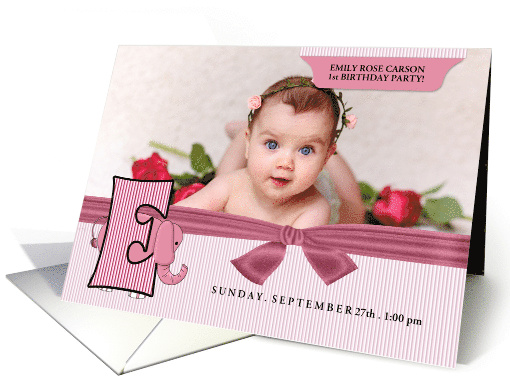 E for Elephant Pink Birthday Party Invitation with Girl's Photo card
