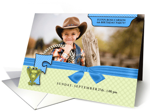 F for Frog Blue and Green Birthday Party Invitation with... (943698)