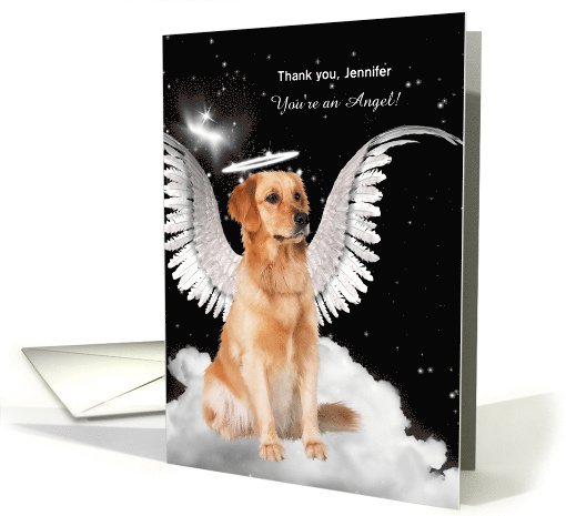 Thank You You're an Angel Golden Retriever Dog with Custom Name card