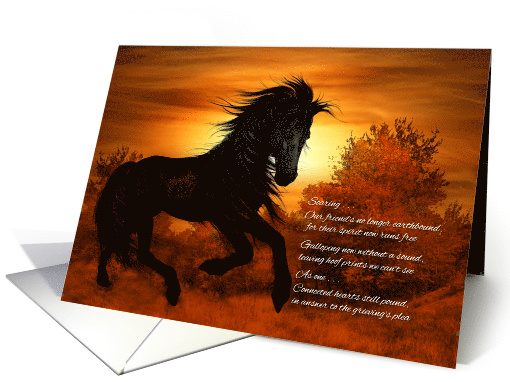 Horse Pet Sympathy Black Horse at Sunset card (957245)