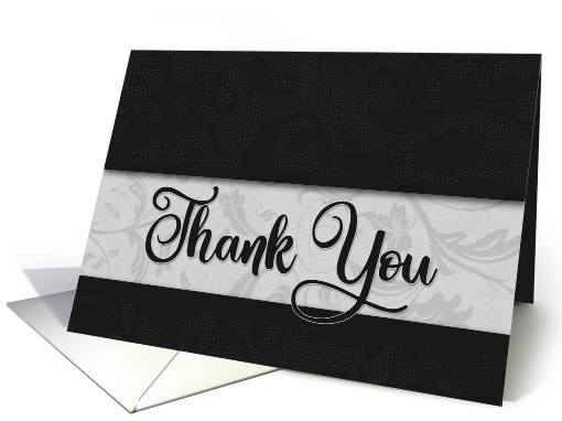 Business Thank You in Classic Black and Silver Damask card (970471)