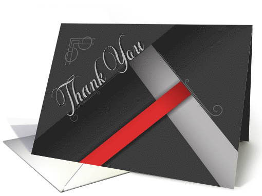 Business Thank You in Red and Black Damask card (970789)