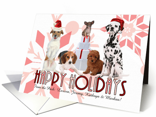 Holiday Pack of Pups in Red Santa Hats and Pink Snowflakes Custom card