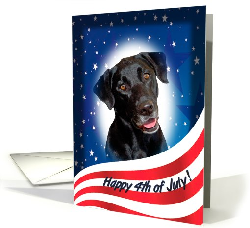 July 4th Card - featuring a black Labrador Retriever card (823394)