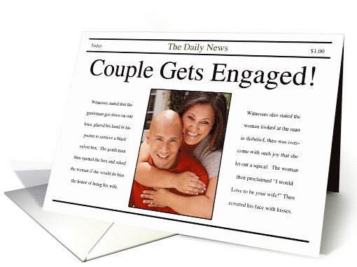 Engagement Announcement ~ Newspaper Style card (865197)