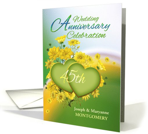 45th Anniversary Party Invitation Yellow Flowers, Custom Name card