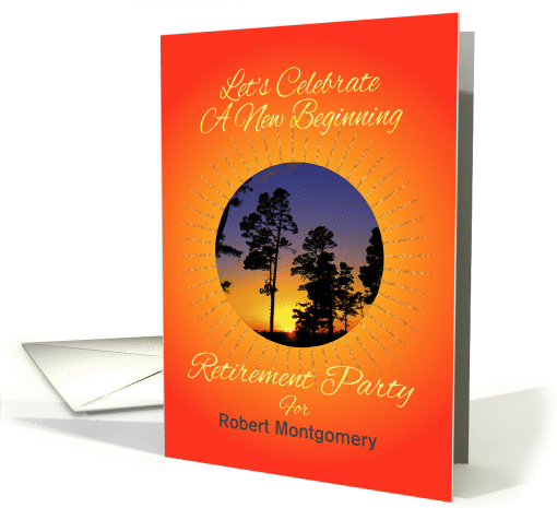 Sunrise Retirement Party Invitation Custom Name card (571677)