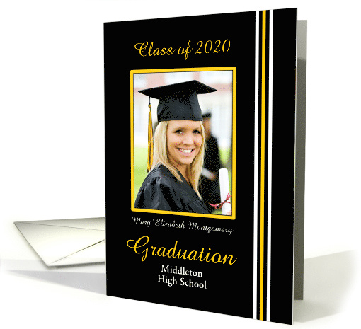 Graduation Announcement Black, Gold and White Photo card (598451)