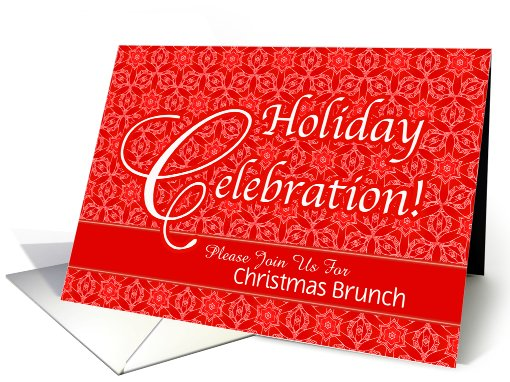 Red Lace Christmas Custom Brunch Party Invitation card (946412)