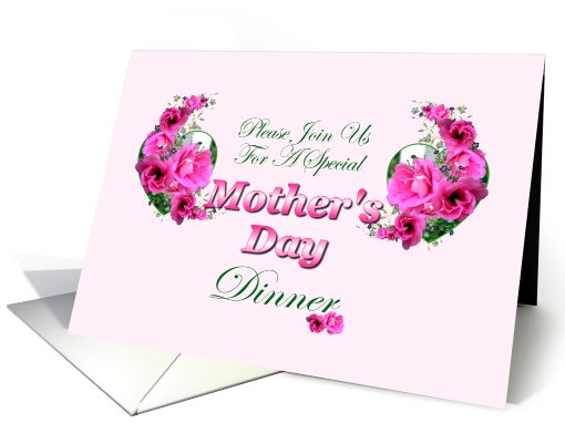 Mother's Day Dinner Invitation with Pink Flowers card (574878)