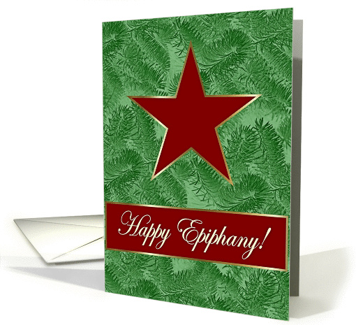 Happy Epiphany, One Red Stars on Spruce card (985069)