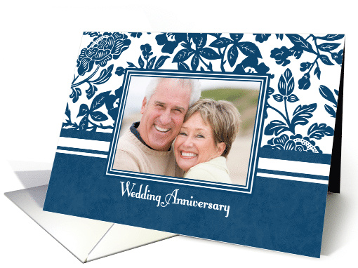Wedding Anniversary Party Invitation Photo Card - Blue &... (729051)