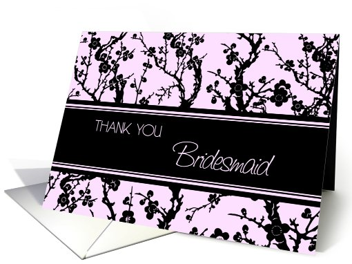 Pink Black Floral Friend Bridesmaid Thank You card (608816)