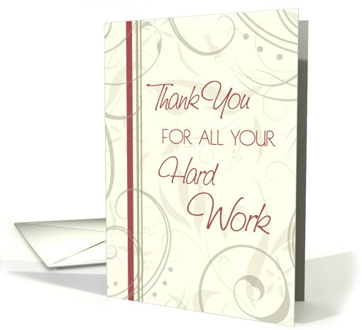 Beige Swirls Thank You Volunteer card (615000)