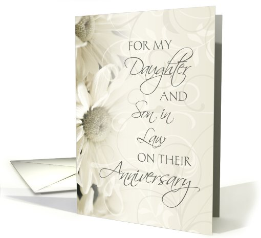 White Floral For Daughter & Son in Law Happy Wedding Anniversary card