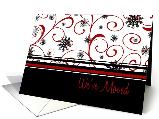 Happy Holidays We've Moved Christmas Card - Red, Black,... (689657)
