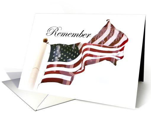 American Flag with Cemetery Crosses card (795090)