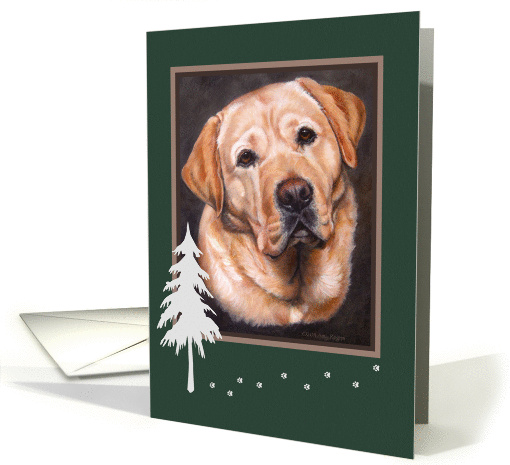 Christmas,Yellow Lab Boy Portrait Painting, Winter Tree and Paws card