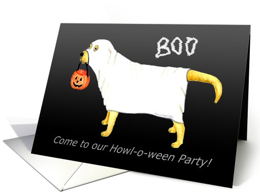 Yellow Labrador Halloween Ghost Dog Party card (461145)