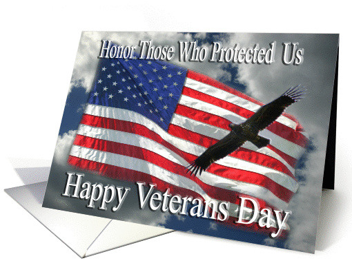Happy Veterans Day flag and flying eagle card (459346)