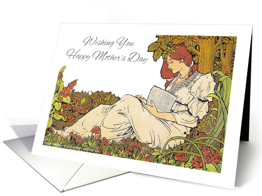 Mother's Day, art nouveau, lady reading card (1222618)