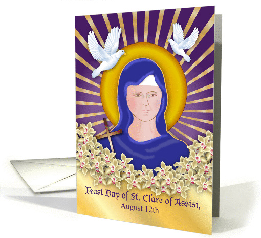 Feast Day of St. Clare of Assisi, doves, rays card (1386250)