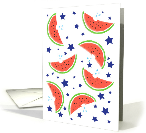 4th of July / Daughter & Son in Law Watermelon & Stars card (816465)