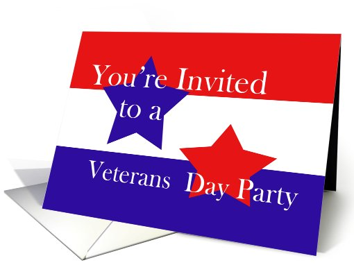 Red, White and Blue, Veterans Day Party card (624837)