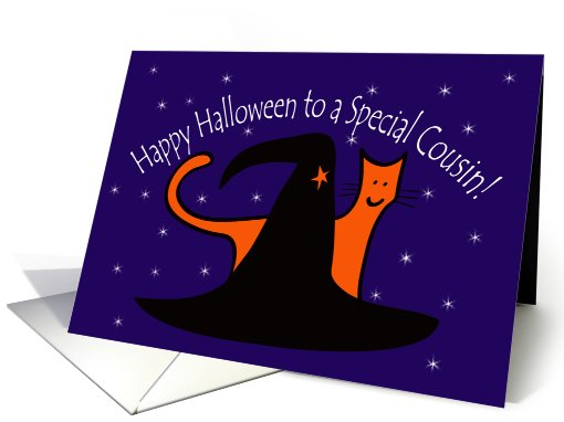 Witches Hat and Orange Cat Happy Halloween Cousin card (648348)