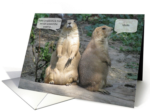 Groundhog Day Humor - Idiots card (546020)