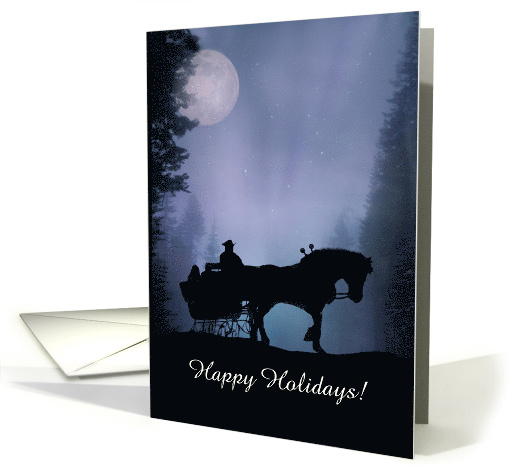 Happy Holidays Horse and Sleigh Customizable card (1309148)