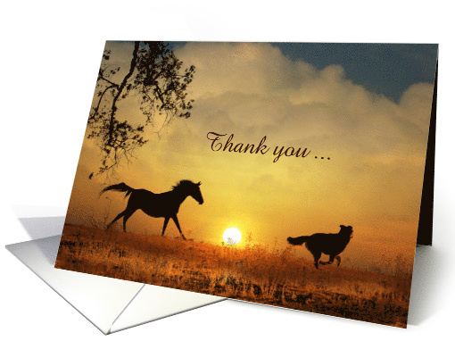 Horse & Dog in the Sunrise Thank You Customize card (1323060)