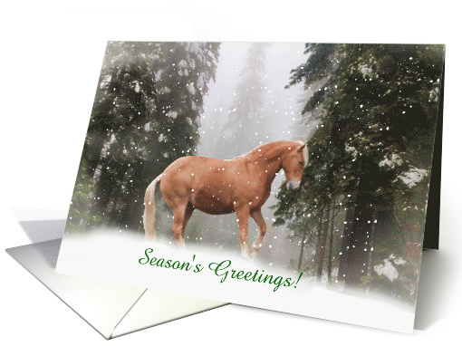 Season's Greetings Horse in the Snow Customizable card (1387540)