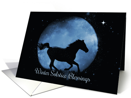 Horse Winter Solstice, Winter Solstice Blessings Moon and Horse card