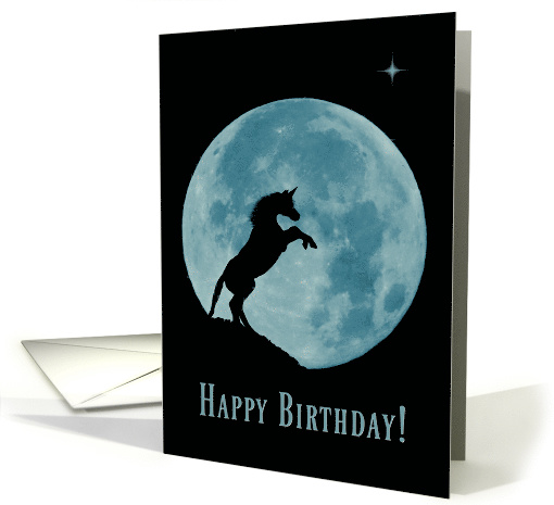 Unicorn and moon Birthday, Pretty Unicorn Birthday card (1557912)