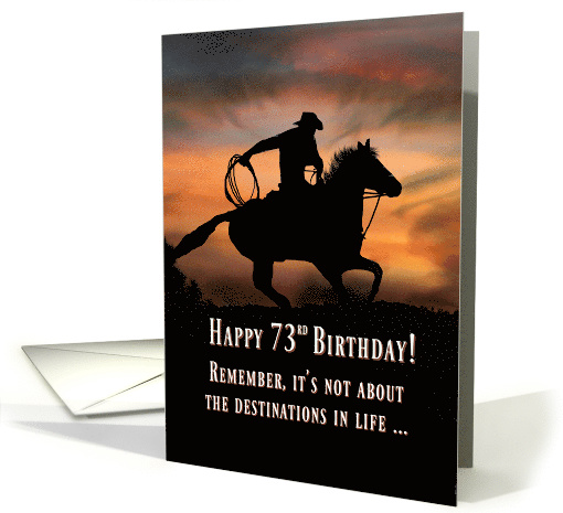 73rd Happy Birthday with Horse and Rider in Southwestern Sunset card