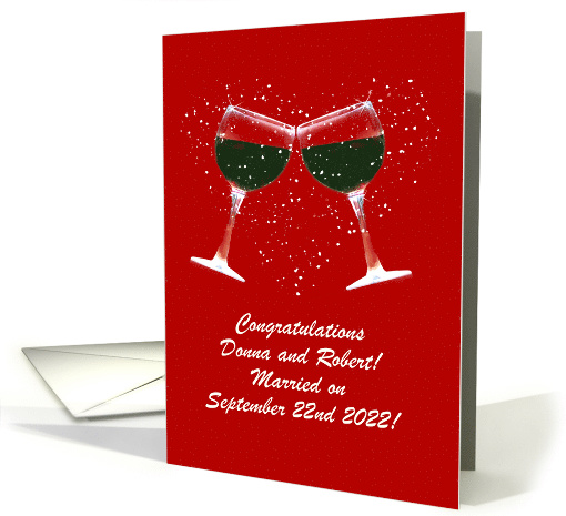 Congratulations on Wedding Custom Names Toasting Wine Glasses card