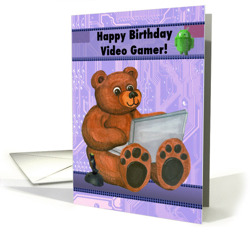 Teddy Bear with Laptop Happy Birthday Video Gamer card (1125288)