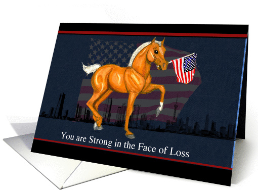 Sympathy Loss of Military Dad Horse Foal with Flag card (1145976)