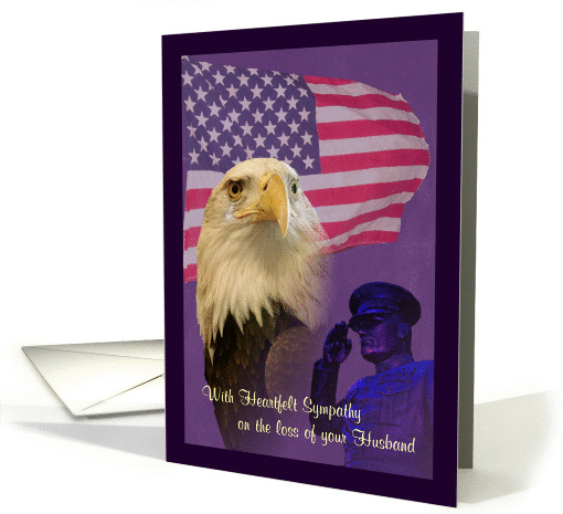 Sympathy Loss of Military Husband Eagle and Flag card (1151004)