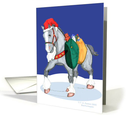 Santa's Helper Christmas Clydesdale Horse card (501882)