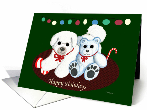 Bichon Frise Dog & Teddy Bear Christmas card (534460)