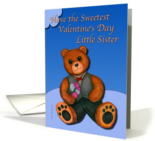 Valentine's Day Little Sister Teddy Bear card (896689)