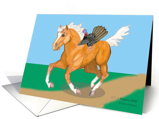 Thanksgiving Runaways Turkey and Horse card (499210)